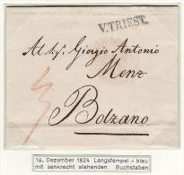 Österreich Austria Italy Triest Trieste 1822 Langstempel Mark Blue ´V. TRIEST.´ To Bolzano (j13) - Österreich