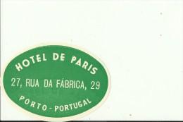 HOTEL LABEL   ---    PORTO, PORTUGAL  --   HOTEL DE PARIS - Hotelaufkleber