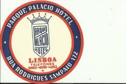 HOTEL LABEL   ---    LISBOA, PORTUGAL  --   PARQUE PALACIO HOTEL - Hotelaufkleber