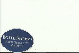 HOTEL LABEL   ---    MADRID, SPAIN  --   HOTEL UNIVERSO - Hotelaufkleber