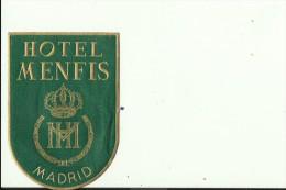 HOTEL LABEL   ---    MADRID, SPAIN  --   HOTEL MENFIS - Hotelaufkleber
