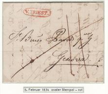 Österreich Austria Italy Triest Trieste 1834 Entire Letter Faltbrief ´V. TRIEST´ To Genova (j17) - Österreich