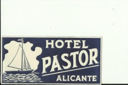 HOTEL LABEL   ---    ALICANTE,  SPAIN  --   HOTEL PASTOR - Hotelaufkleber