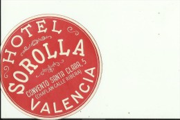 HOTEL LABEL   ---    VALENCIA,  SPAIN  --   HOTEL SOROLLA - Hotelaufkleber