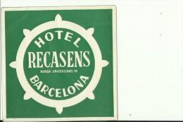 HOTEL LABEL   ---    BARCELONA,  SPAIN  --   HOTEL RECASENS - Hotelaufkleber