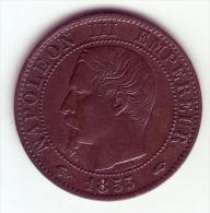 Napoléon III Tête Nue . 5 Centimes 1855 A (Ancre) . - C. 5 Centimes