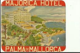 HOTEL LABEL   ---    PALMA DE MALLORCA,  SPAIN  --   HOTEL MAJORICA - Hotelaufkleber