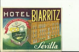 HOTEL LABEL   ---    SEVILLA,  SPAIN  --   HOTEL BIARRITZ - Hotelaufkleber