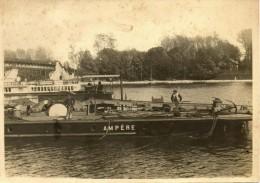 BATTELERIE - TOUEUR AMPERE  PENICHE CANAUX 2 Photos  INGENIEUR ARMAND DE BOVET - Hausboote