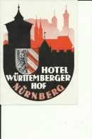HOTEL LABEL   ---   NURNBERG, DEUTSCHLAND  --    HOTEL WURTTEMBERGER HOF - Hotelaufkleber