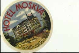 HOTEL LABEL   ---   BEOGRAD, SERBIA  --    HOTEL MOSKVA - Hotelaufkleber