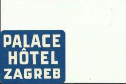 HOTEL LABEL   ---   ZAGREB, CROATIA  --   HOTEL PALACE - Hotelaufkleber