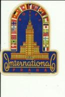 HOTEL LABEL   ---   PRAHA, CZECH  --   HOTEL INTERNATIONAL - Hotelaufkleber