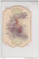 Au Plus Rapide Très Ancienne Carte De Voeux 1896 Gaufrée Fleur Trois Volets - Cartes