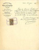 ENTREPRISE DE PEINTURE  -  BALLEYDIER  -  TOULOUSE  -  BATIMENT DECORATION VITRERIE  -  1899 - France
