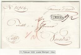 Austria Österreich Italy Triest Trieste 1829 Entire Letter Faltbrief Blueish Oval ´V. TRIEST´ To Venezia Ex Offo (j20) - Österreich