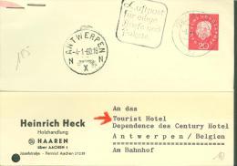 1960 NR 185 AUF KARTE HEINRICH HECK HAAREN AACHEN NACH TOURIST HOTEL ANTWERPEN - MOOIE ROND AK STEMPEL 4-1-60.18  N X N - [7] Federal Republic