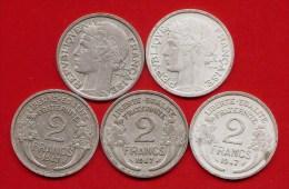 **  FRANCE  -  2 FRS MORLON  ( Aluminium )  1947  /  LOT DE 5 PIECES  - F.269 -  **