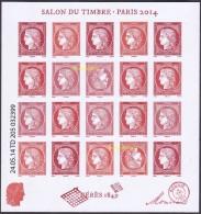 France BF N° F 50.0601 ** Salon Du Timbre 2014 - Les 20 Unités Cérès Carmin Et Vermillon Dont 2 Têtes Bêches. - Ongebruikt