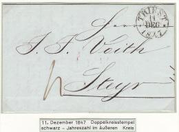 Austria Österreich Triest Trieste 1847 Entire Letter Faltbrief To Steyr (j49) - ...-1850 Prefilatelia