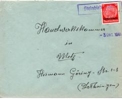 FRANCE LORRAINE LETTRE DE STEINBIEDERSDORF 1941 - Marcophilie (Lettres)