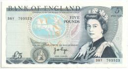 BANK OF ENGLAND - 5 POUNDS - FIVE POUNDS - 1952-… : Elizabeth II