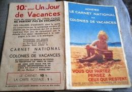 COUVERTURE DE CARNET NATIONAL DE COLONIES DE VACANCES - - Vieux Papiers