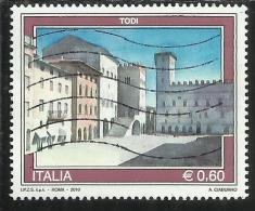ITALIA REPUBBLICA ITALY REPUBLIC 2010 PROPAGANDA TURISTICA TOURISM TODI USATO USED OBLITERE' - 6. 1946-.. Repubblica