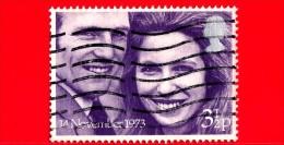 GB  UK GRAN BRETAGNA - USATO - 1973 - Matrimoni Reali - La Pricipessa Anne E Il Capitano Mark Philips - 3 ½ P - Usati