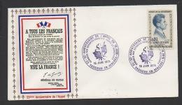 DF / GUERRE 1939-45 / 35e ANNIV. DE L' APPEL / 26 VASSIEUX EN VERCORS / HOMMAGE AUX FRANÇAIS LIBRE ET .../ TP 1289 - Militaria