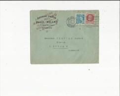 Enveloppe Timbrée  De  Mr Raoul Ricard Assurances A Beziers  34  Adressé  A Mr Viguier Notaire A Roujan 34 - Oblitérations Mécaniques (Autres)