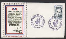 DF / GUERRE 1939-45 / 35e ANNIV. DE L' APPEL / 26 VASSIEUX EN VERCORS / HOMMAGE AUX FRANÇAIS LIBRE ET .../ TP 1825 - Militaria