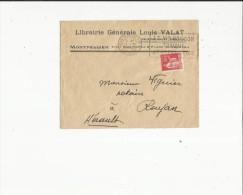 Enveloppe Timbrée Flamme  De Librairie Louis-Valat A Montpellier   34  Adressé  A Mr Viguier Notaire A Roujan  34 - Oblitérations Mécaniques (flammes)