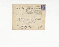 Enveloppe Timbrée Flamme  Journal Special (Les Petites Affiche A Montpellier  34 Adres A Mr Viguier Notaire A Roujan  34 - Oblitérations Mécaniques (flammes)
