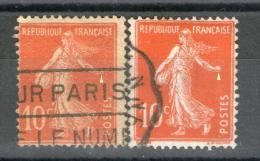 2 N° 138 Type IC°_un Papier Grande Consommation + Un Papier Blanc_cote Dallay=33.00 - Abarten: 1921-30 Gebraucht