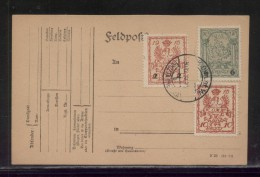 POLAND 1915 WARSAW LOCAL ON FELDPOST PC 10GR, 2GR OPT ON 10GR 6GR OPT ON 5 GROSZY MERMAIDS - Covers & Documents
