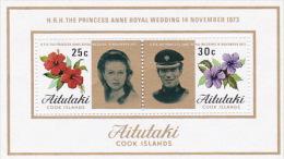 Aitutaki 1973 Royal Wedding Miniature Sheet MNH - Aitutaki