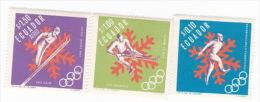 Ecuador 1966 Winter Olympics, 3 Stamps, MNH - Ecuador