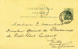 Entier Postal Lion Couché MALINES 1890 Vers GILLY  - Cachet  Privé Charbonnages De Noel Sart Culpart à GILLY  -- 21/229 - Postcards [1871-09]