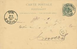 Entier Postal Lion Couché HAMOIS En CONDROZ 1893 - Cachet  Privé Philippron Frères , Maitres De Carrières  -- 21/246 - Postcards [1871-09]