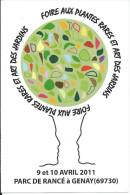 Carte Pub GENAY 69, Foire Aux Plantes Rares Et Art Des Jardins (9 Et 10 Avril 2011) Parc De Rancé - Altri Comuni