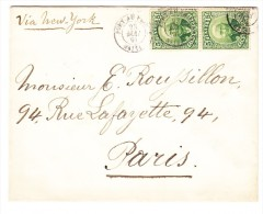Brief Port Au Prince 23.5.1891 Mit Paar Grün Scott#24 Nach Paris Transit-Stempel New-York - Haïti