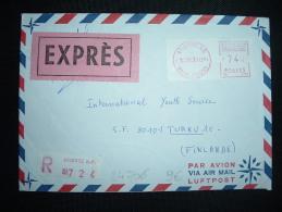 LR EXPRES POUR LA FINLANDE VIGNETTE PR à 740 Du 12 XI 73 ANGERS RP (49 MAINE ET LOIRE) + HELSINKI 10 AVION - 1961-....
