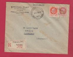 Lot 305  //  Enveloppe Recommandée De Preuilly   //  Pour Confolens   //   30/1/1943 - 1921-1960: Modern Tijdperk