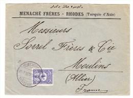 Brief Von Rhodes 1902 Nach Moulins Frankreich E.F. 1 Pia Mi#103 - 1858-1921 Ottoman Empire