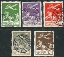DENMARK 1925-29 Airmail Set Used.  Michel 143-45, 180-81, Facit 213-17. - Aéreo