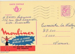 "BELGIQUE - CARTE ENTIER PUBLICITAIRE ""PUBLIBEL"" N°2668F - MOULINEX - Stamped Stationery"