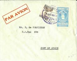 LBL26C - VENEZUELA LETTRE AVION  A DESTINATION DE PORT OF SPAIN MARS 1939 - Venezuela