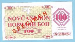 BOSNIA - BOSNIEN UND HERZEGOWINA, 100 Dinara 1992 UNC SPECIMEN No. 000000. - Bosnien-Herzegowina