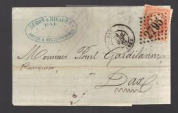 FRANCE N° 23  Obl. S/Lettre Entiére GC 2795 Pau - 1862 Napoleon III
